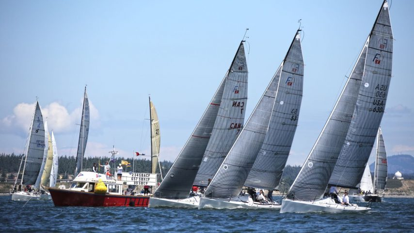 Sailing Boats and Support Boat