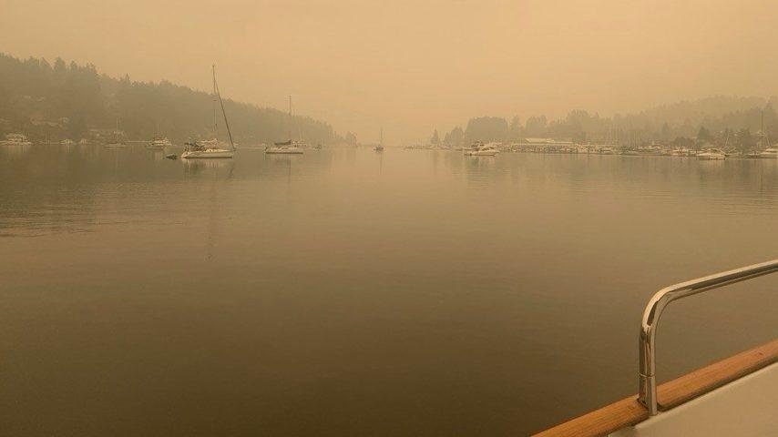 Smoke-filled skies at Gig Harbor