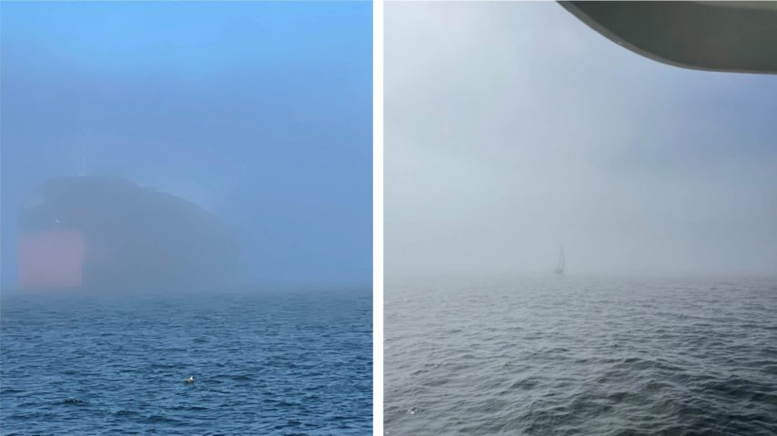 Vessel Sea Bear approaching other boats in the fog