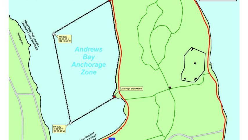 Map of Andrews Bay and Seward Park on Lake Washington