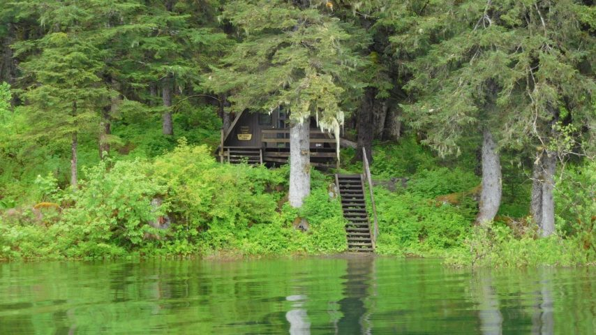 Rental Forest Service Cabin with stairs down to the Stikine River