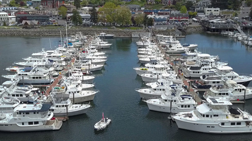 Rows of Norhavn boats at Poulsbo Marina, a meet up rendezvous