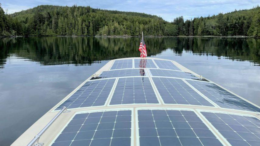 Solar Panels on top Wayward Sun solar powered boat