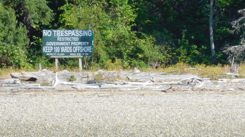 Posted No Trespassing signage on McNeil Island